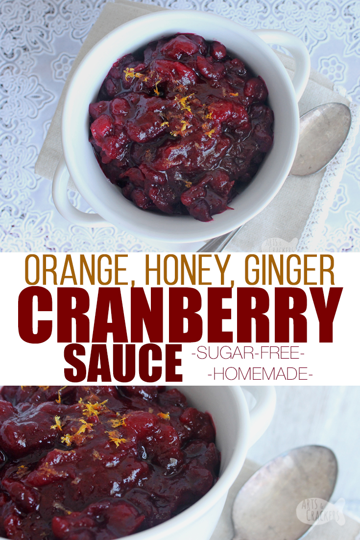 Your tastebuds will sing when you eat this delicious Ginger, Honey and Orange Cranberry Sauce; it's sweet, sour and with a hint of spice | cranberry sauce recipe | homemade cranberry sauce | whole berry cranberry sauce | easy cranberry sauce | sugar free cranberry sauce | cranberry sauce with honey | fresh cranberry recipes | Thanksgiving sides #thanksgiving #recipe #sugarfree