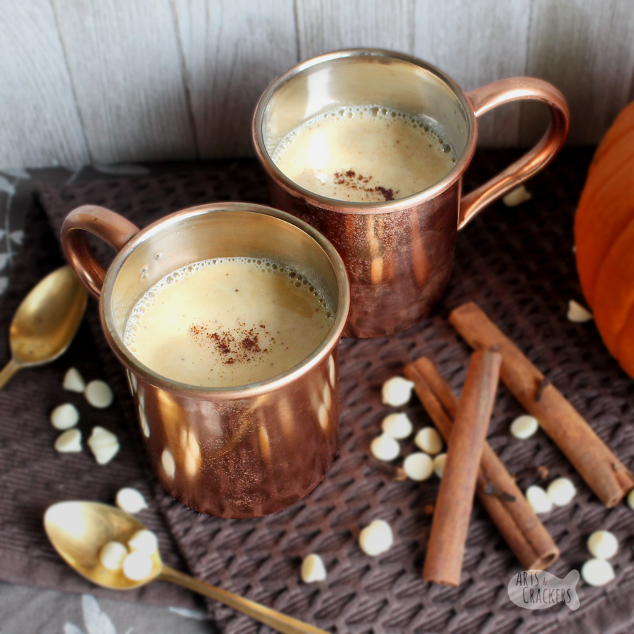 This delicious twist on a classic hot chocolate will be a new fall favorite—it's a gluten-free Pumpkin Pie Hot Chocolate! Gluten-free recipes   Gluten-free drinks   Crock pot hot chocolate   Slow cooker hot chocolate   white chocolate hot chocolate   warm beverages   Thanksgiving beverage recipes #glutenfree #thanksgiving #beverages #slowcooker #recipe