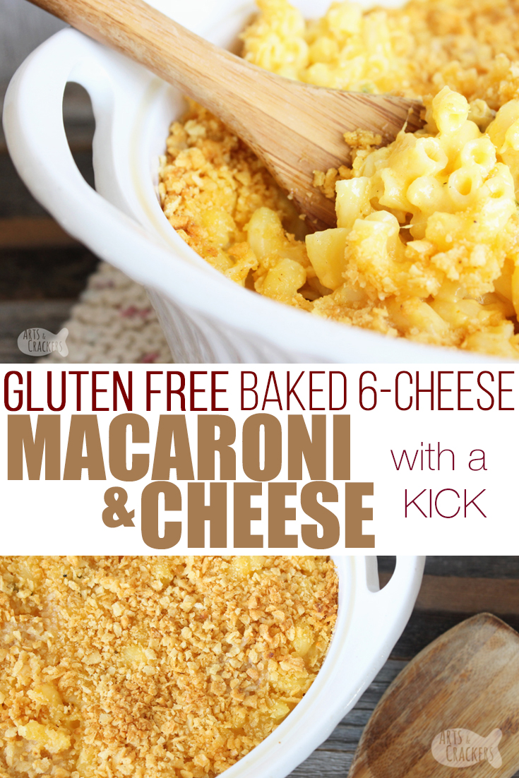 The whole family will love this baked gluten-free macaroni and cheese recipe, complete with 6 cheeses, a crunchy topping and a kick of spice | baked mac and cheese | gluten free baked macaroni | spicy macaroni and cheese | southern baked mac and cheese | gluten free recipe | Thanksgiving sides | lunch recipes | dinner recipes | family dinner | casserole recipe | pasta recipe | gluten free pasta