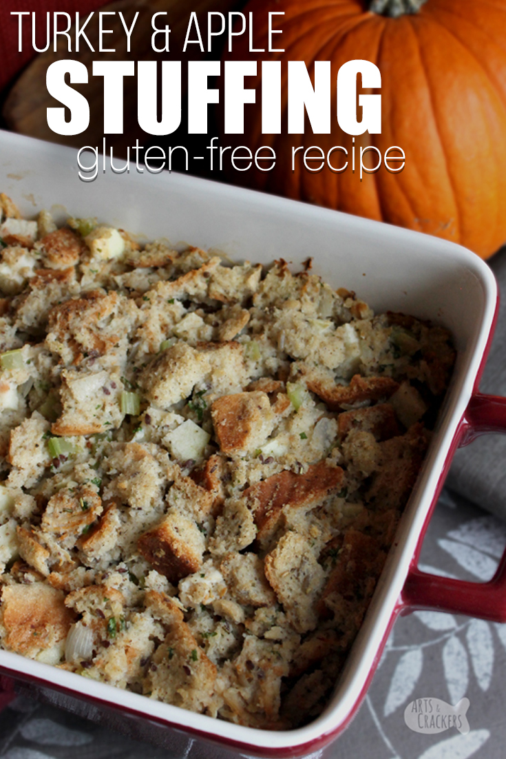 This delicious gluten-free Turkey Apple Stuffing is flavorful and filling and has a great texture. Serve it as a Thanksgiving side dish, an alternative Thanksgiving entree or make it with Thanksgiving leftovers | stuffing recipe | gluten free recipe | gluten-free stuffing | unique stuffing recipe | Thanksgiving dressing | Thanksgiving leftovers recipe | Thanksgiving recipe #glutenfree #thanksgiving #recipe