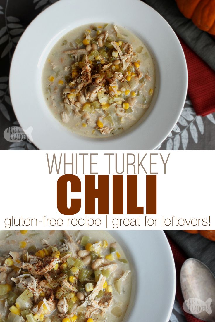 Whether you have leftover turkey from Thanksgiving or you want a cozy fall or winter meal, this Slow Cooker White Turkey Chili recipe is sure to be a hit | turkey leftovers recipe | slow cooker recipes | soup recipes | turkey recipe | slow cooker soup | crock pot soup | white chicken chili | thanksgiving leftovers | #recipe #thanksgiving #slowcooker