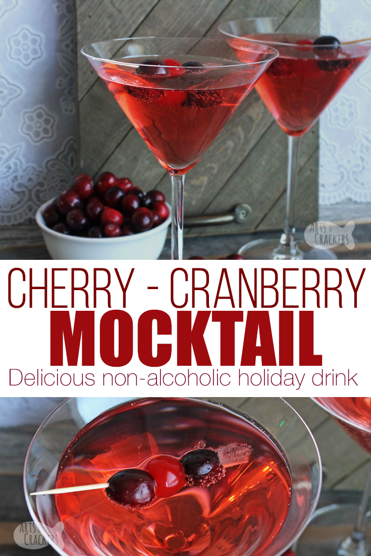 Celebrate the holidays with this non-alcoholic Cherry Cranberry Cocktail | holiday mocktail | non-alcoholic holidays | non-alcoholic drink | cranberry cocktail | shirley temple drink | thanksgiving drinks | Christmas drinks | beverage recipes #drinks #holidays #nonalcoholic