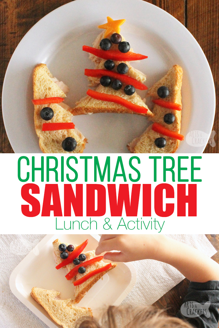 Celebrate Christmas with this fun, hands-on Christmas Tree Sandwich Lunch Idea for Kids | evergreen tree | pine tree | edible crafts | fun lunches for kids | Christmas tree food | Christmas lunch ideas | Christmas sandwich | sandwiches for kids | play with your food | lunchtime activity #momblogger #kidfriendlyfood #kidfood #foodblog #christmas