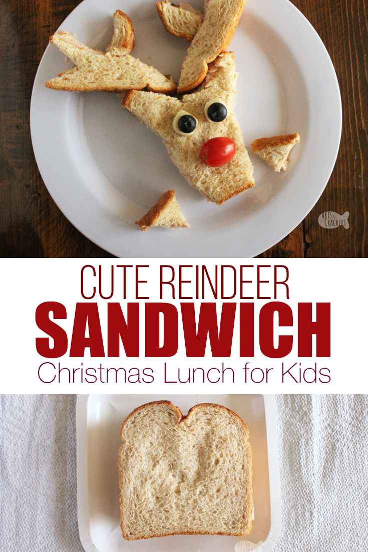 Make lunchtime fun with this Cute Reindeer Sandwich Christmas Lunch for Kids | Christmas food | shaped sandwiches | sandwich cutter | cute lunch ideas | lunch ideas for kids | Christmas lunch ideas | reindeer crafts | edible craft | Christmas for kids #christmas #lunchideas #momblogger #lunchforkids #sandwich