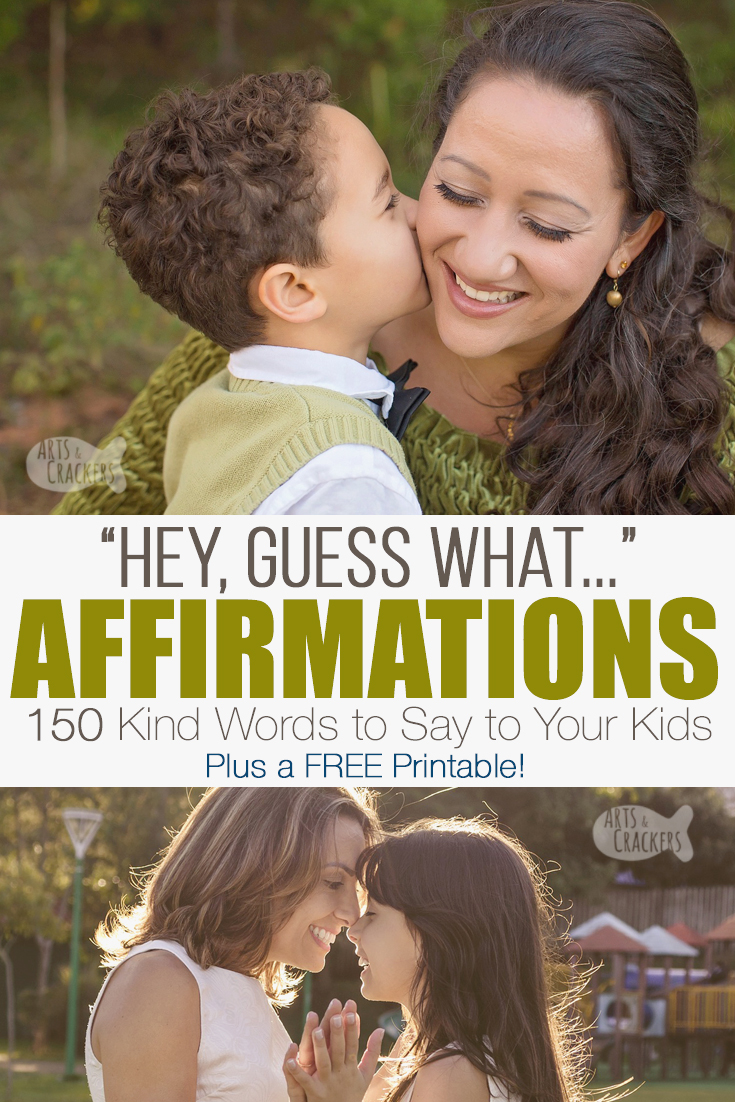 Teach your kids kindness and build up their self esteem with these affirmations for kids from parents (including a free printable) | positive parenting | affirming words for kids | encouraging your kids | affirmations from parents | list of affirmations | positive affirmations | speak life | inner voice | words of affirmation | kindness activity | daily affirmations | encouragement for kids #parenting #affirmations