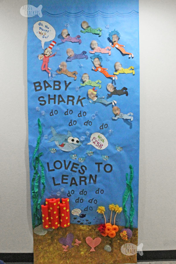 Your classroom will love this Baby Shark + Dr. Seuss Classroom Decor Idea for Dr. Seuss Day! Combine Baby Shark Classroom Decor with Dr. Seuss for this Classroom Door Decorating Idea | Dr. Seuss Day | Preschool | Underwater | Baby Shark Decor | Baby Shark Classroom | Dr Seuss Classroom | Classroom Door Decorating | DIY Dr Seuss Decorations | Class Decorating | Teachers | #teachers #preschool #drseuss #babyshark #classroomdecor
