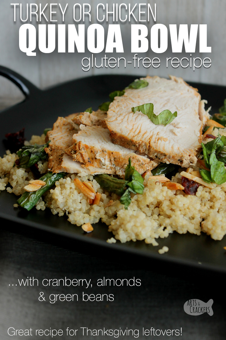 Add some protein to your diet with this simple and delicious Turkey or Chicken Quinoa Bowl Recipe. It is a delicious way to use leftover turkey from Thanksgiving or with a baked chicken breast for a weeknight dinner | dinner recipes | quinoa recipes | leftover turkey recipes | family dinner recipes | family meal ideas | easy dinner ideas | 30 minute meals | fall recipes | quinoa salad #dinnerrecipes #foodblogger #mealideas #quinoa