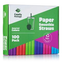 Paper Jumbo Smoothie Straws,100% Biodegradable [100 Pack] Assorted Colors