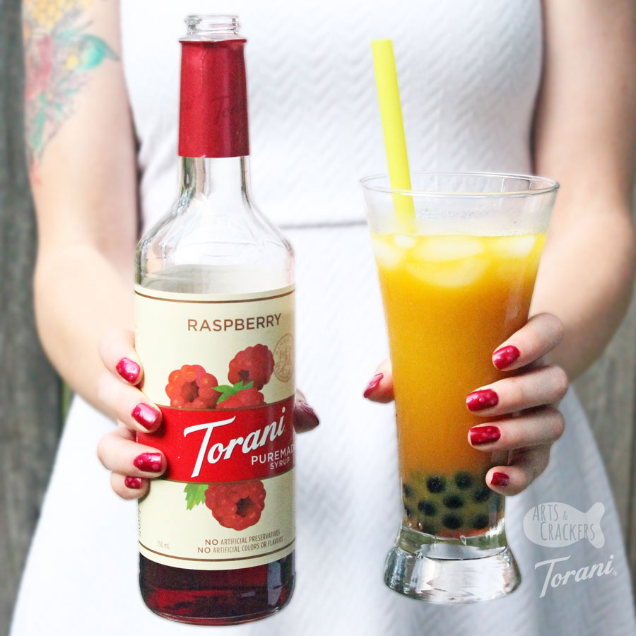 Flavored Kombucha Bubble Tea Recipe With Raspberry Syrup
