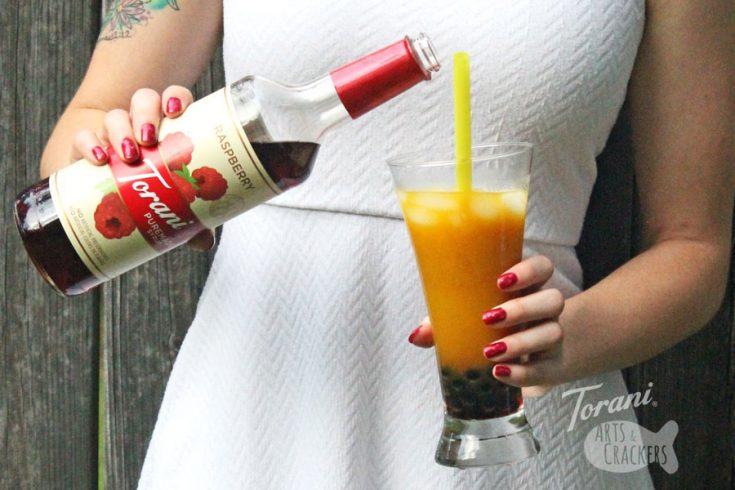 Flavored Kombucha Bubble Tea with Raspberry Syrup