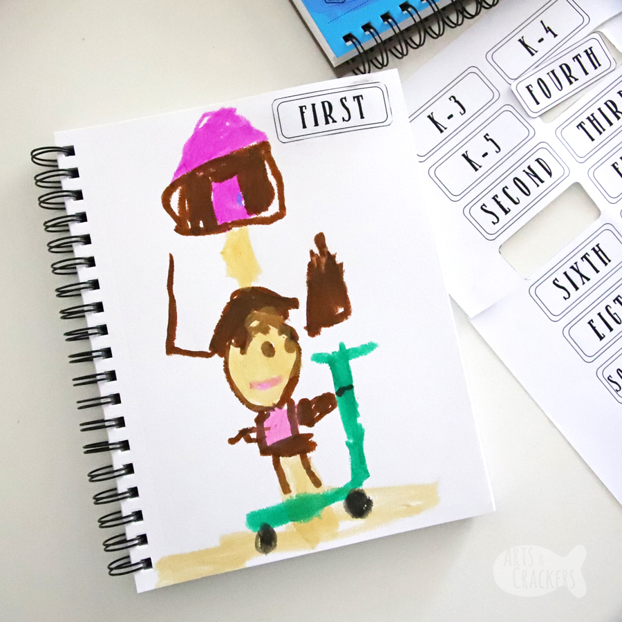 Make this DIY Every Year Book to record your child's first and last days of school. This School Years Memory Book for Kids is fun and makes a great keepsake that is easy to store away for each year from preschool through high school. Print the free questionnaire and labels to make your own! #backtoschool #journal #kidsactivities | kids journal | first day of school | back to school | last day of school | art project for kids | yearbook | Kwik Stix
