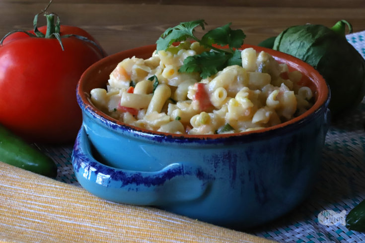 Mexican Mac and Cheese Recipe | Creamy Macaroni and Cheese with a Mexican Inspired Twist | #mexicanmac #pasta #mexicanflavors #macaroniandcheese #spicymacaroni #quesocheese #tomatillos
